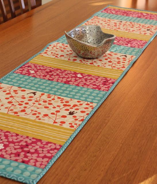 scrap fabric table runner