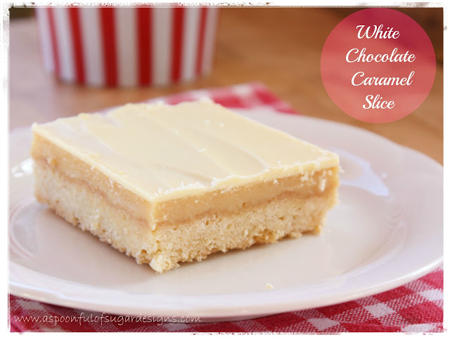 White Chocolate Caramel Slice - A Spoonful of Sugar