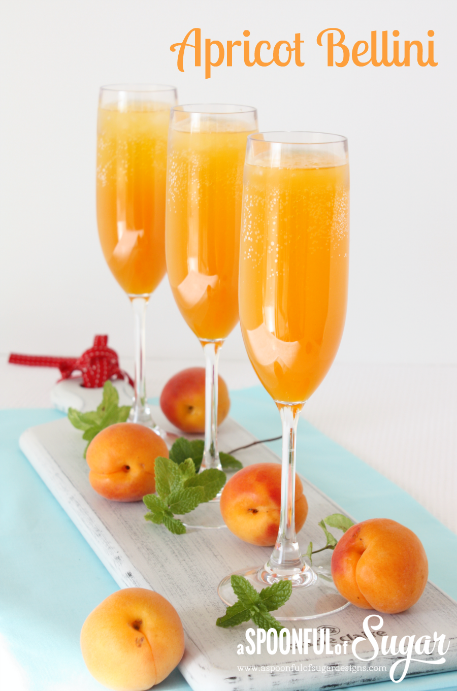 Apricot Bellinis are a lovely brunch drink, perfectly finished with a ...