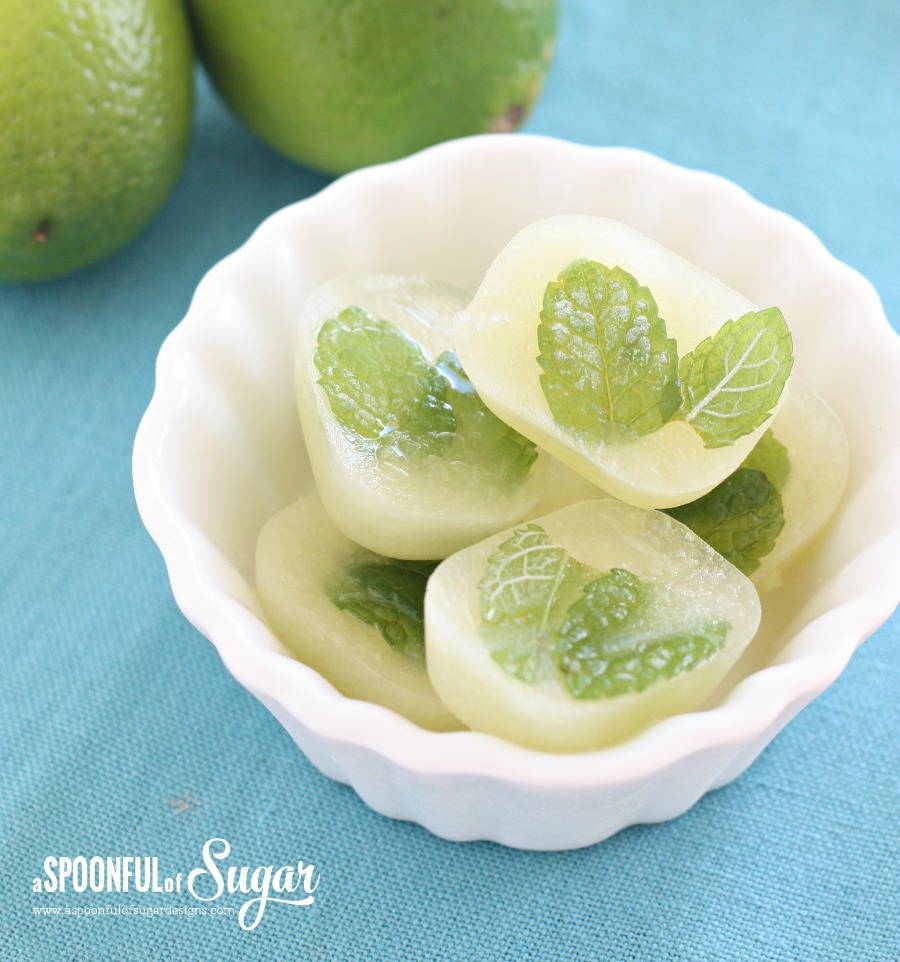 Lime and Mint Ice Cubes