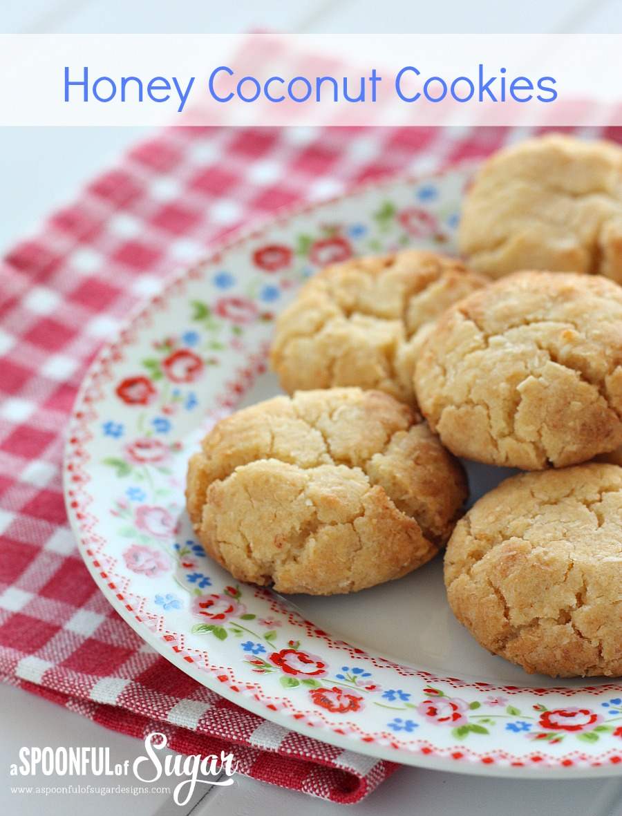 Easy honey coconut cookie recipe from A Spoonful of Sugar