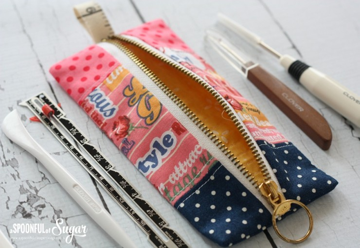 Sewing Tool Pouch made from easy Pencil Case Tutorial at A Spoonful of Sugar.