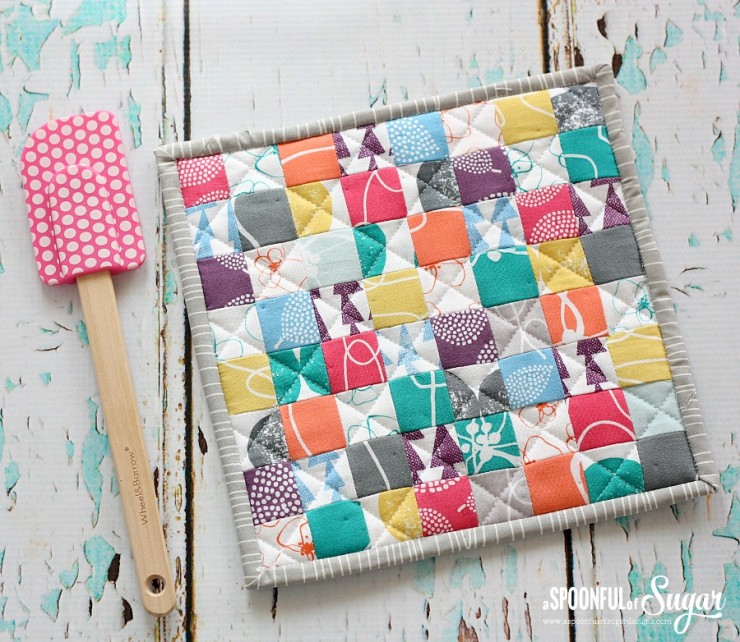 Postage Stamp Pot Holder