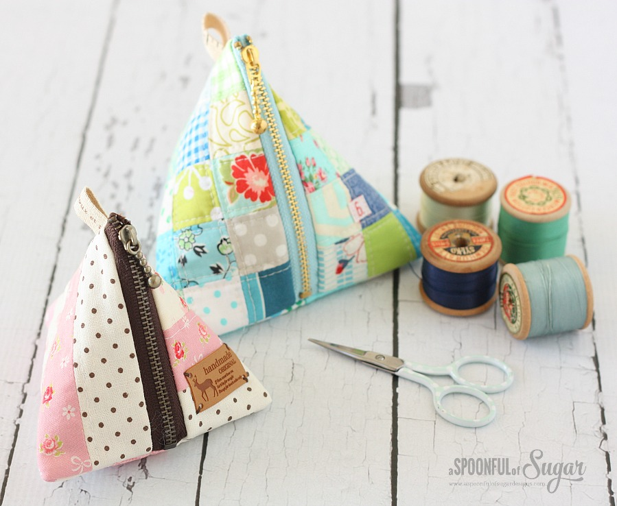 Patchwork Triangle Pouch tutorial from A Spoonful of Sugar
