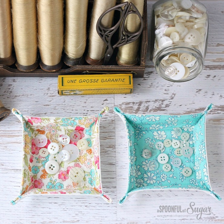 Charm Square Fabric Tray Sewing Tutorial by A Spoonful of Sugar Designs