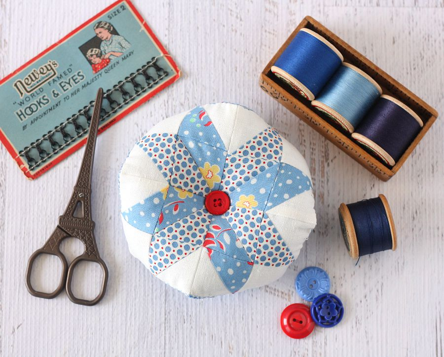 Scrappy Star Pincushion Pattern by A Spoonful of Sugar - available from https://www.etsy.com/shop/aspoonfullofsugar