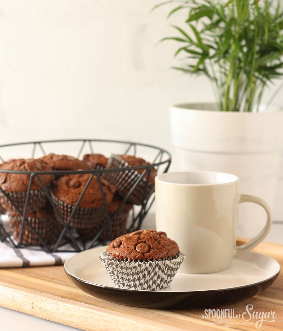 Double Chocolate Chip Muffins by A Spoonful of Sugar