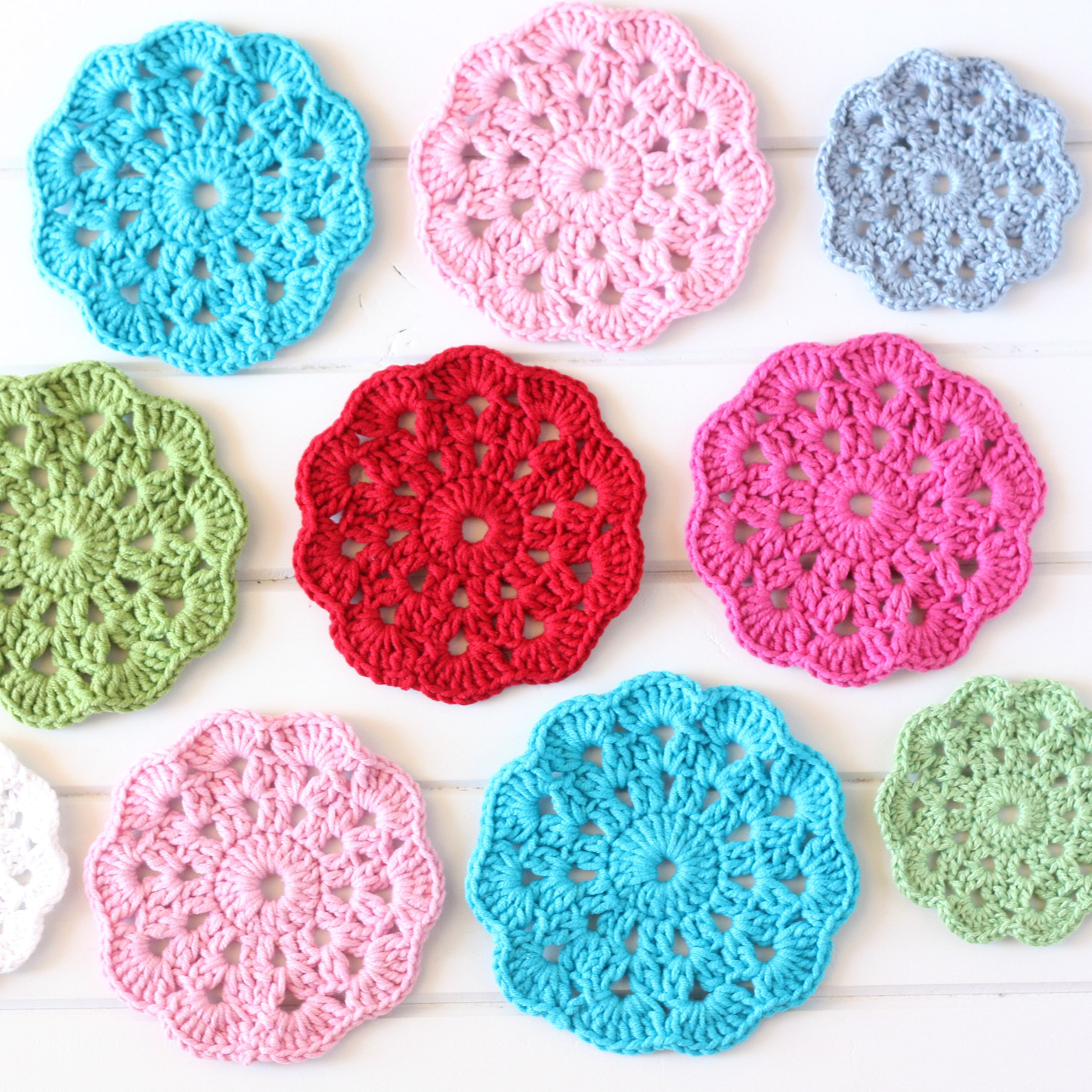 Crochet coasters by A Spoonful of Sugar