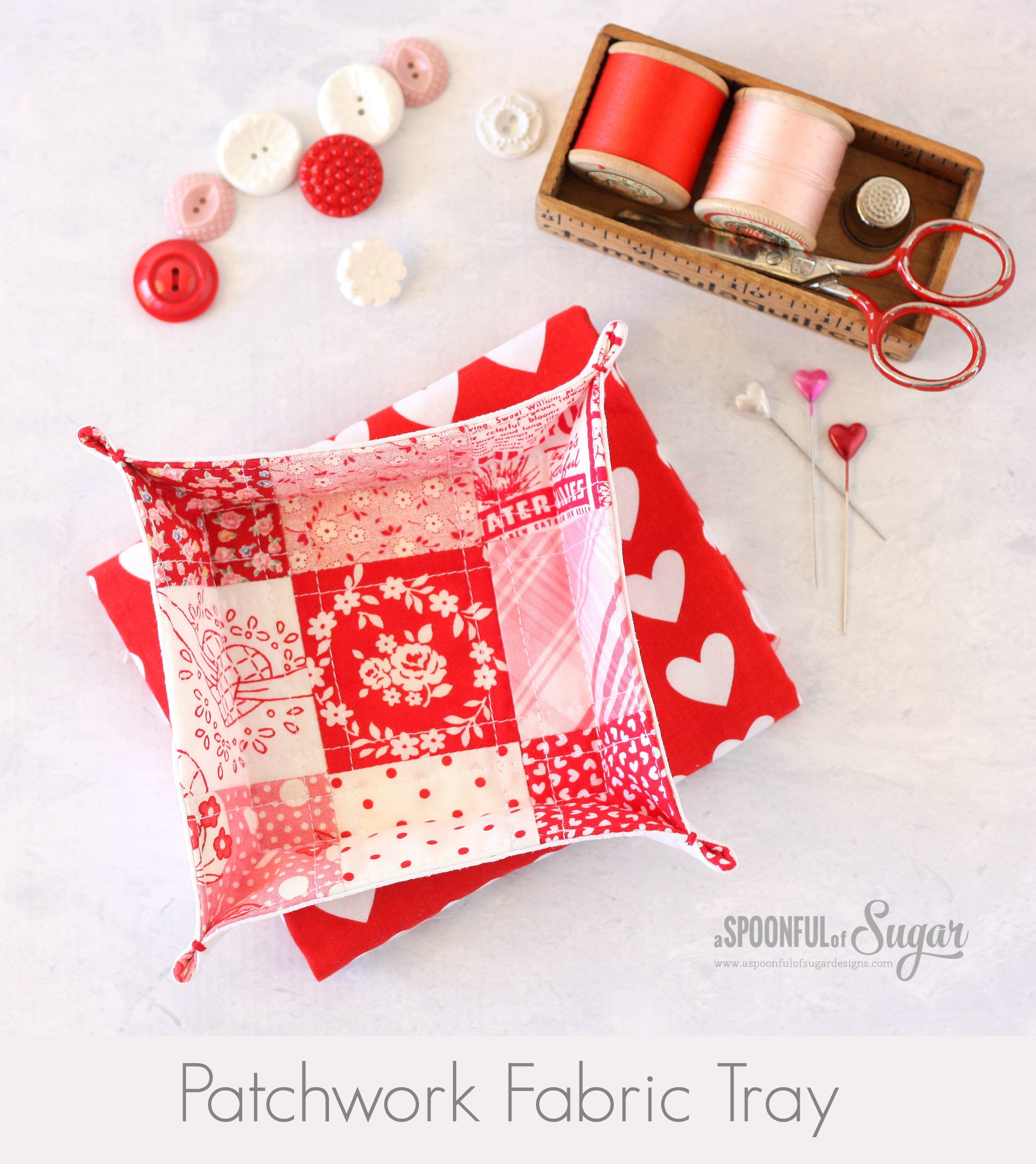 Patchwork Fabric Tray by A Spoonful of Sugar
