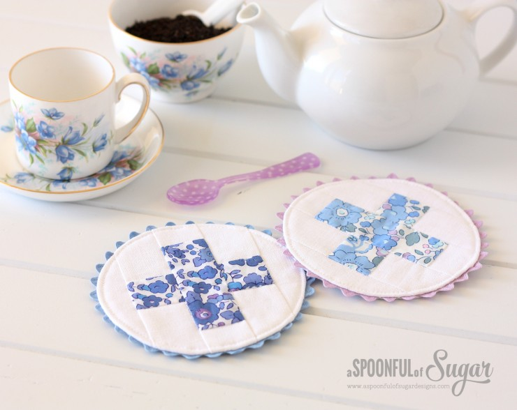 Liberty Criss Cross Coasters. Pattern from A Spoonful of Sugar: Sew 20 Simple Projects to Sweeten Your Surroundings Zakka Style
