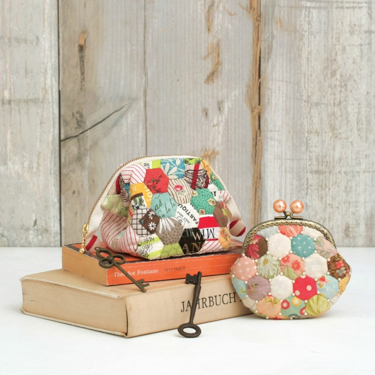 Hexagon Coin Purse and Zip Pouch from Quilted Bags and Gifts by Akemi Shibata