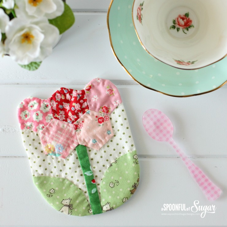 Floral Coaster - made from Quilted Bags and Gifts by Akemi Shibata