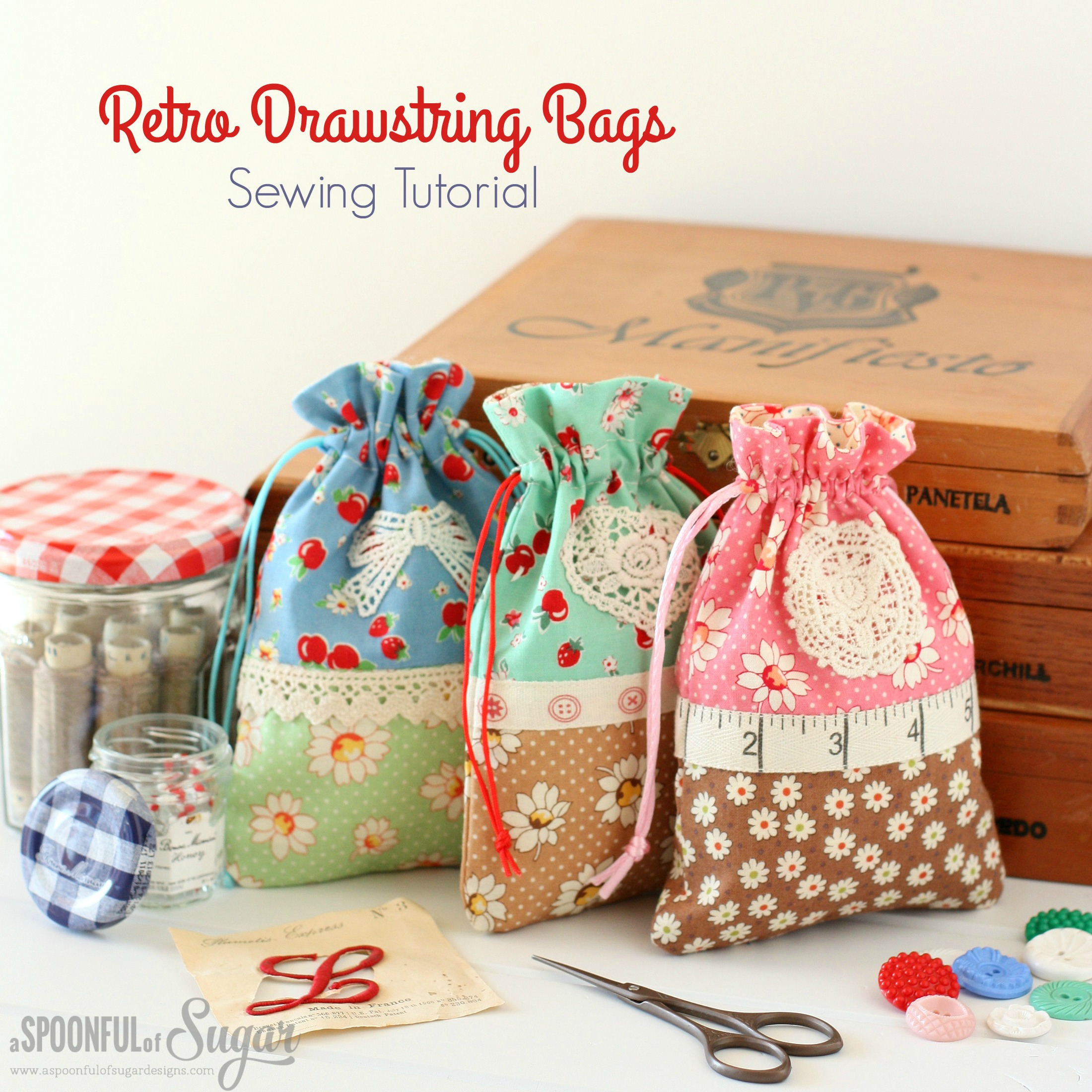 Retro Drawstring Bags - sewing tutorial by A Spoonful of Sugar