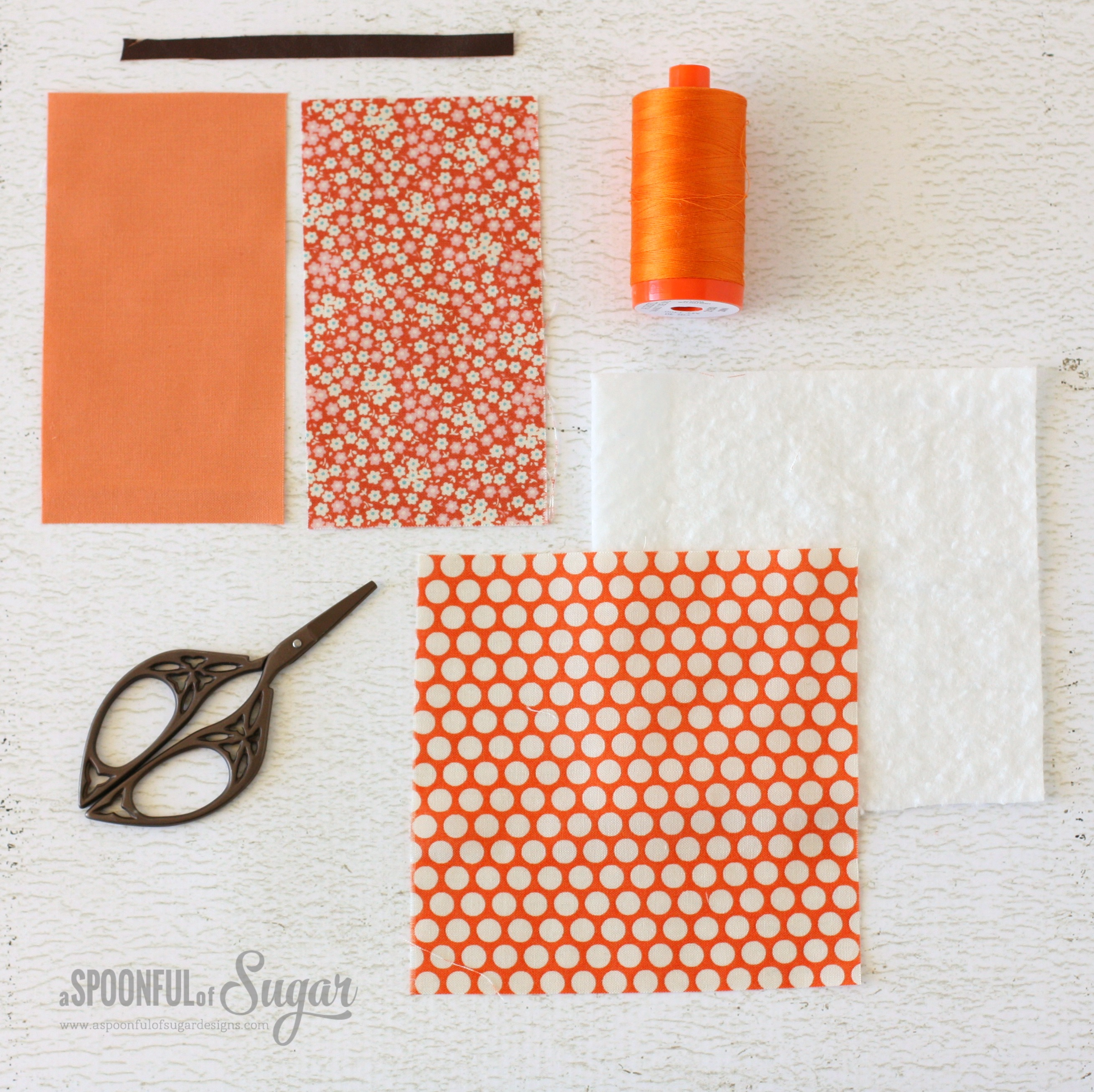 Simple Pumpkin Coasters - beginner sewing tutorial by A Spoonful of Sugar