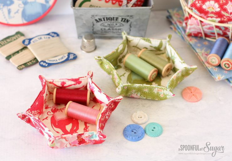 Hexagon Fabric Tray made in Tilda Circus - free sewing tutorial by A Spoonful of Sugar