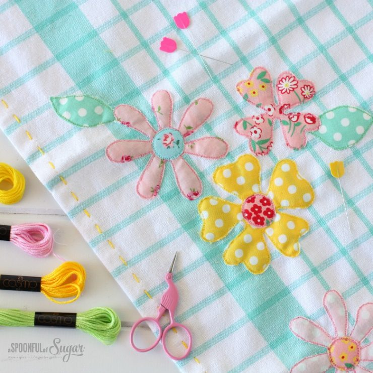 Spring Tea Towel - sewing tutorial by A Spoonful of Sugar