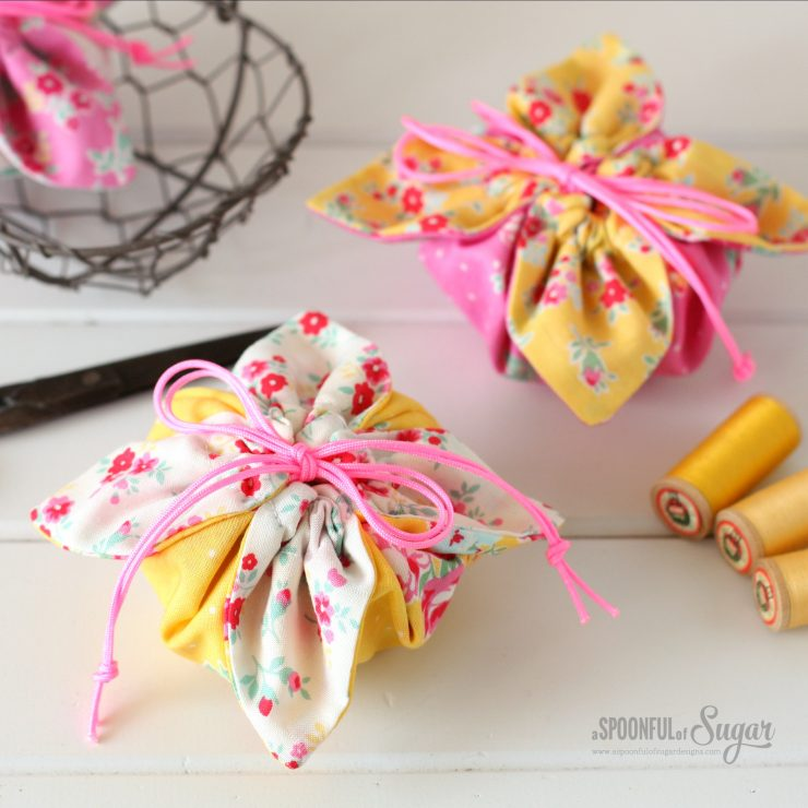 Flower Sugar Pouches made using free sewing tutorial from A Spoonful of Sugar www.aspoonfulofsugardesigns.com