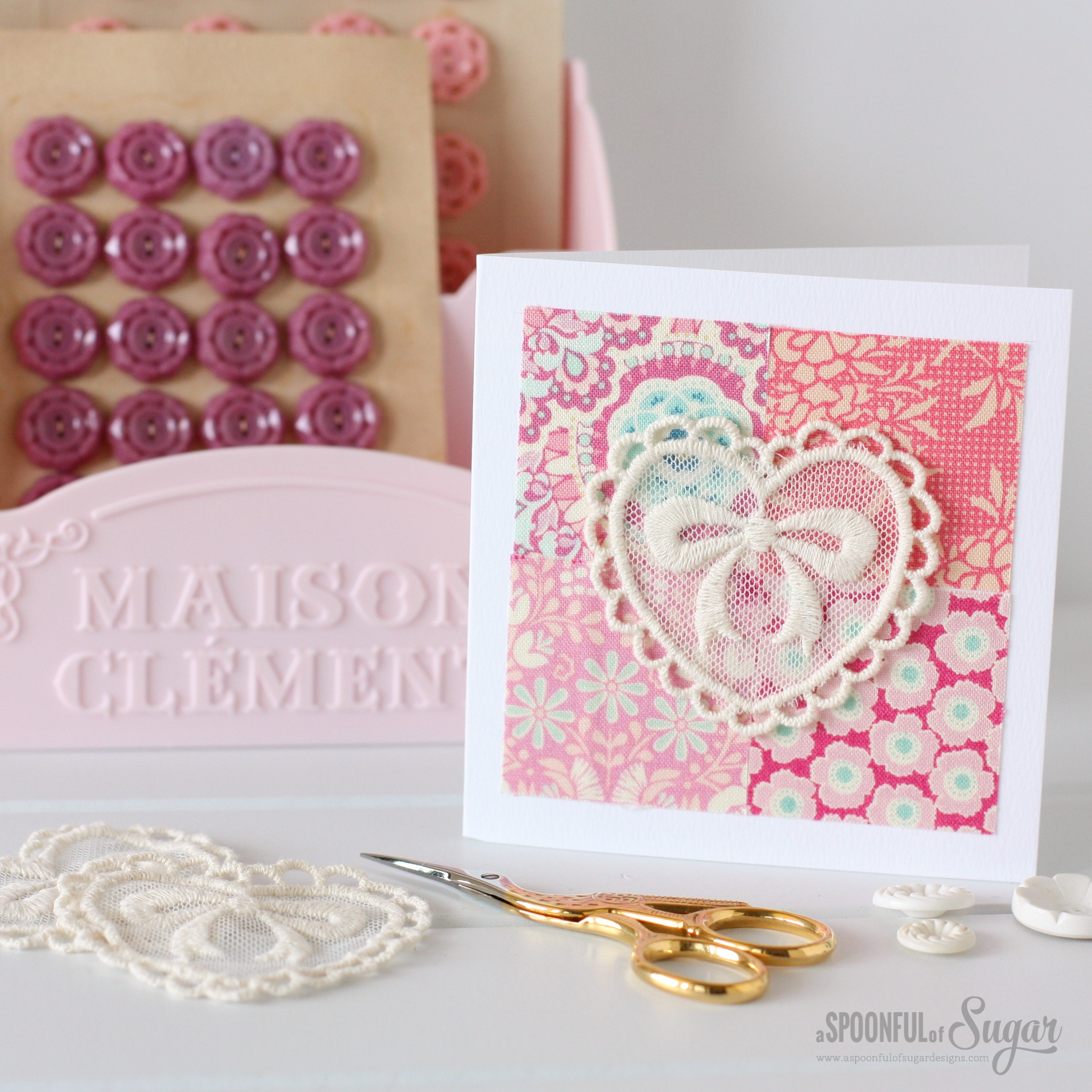 Happy Scrappy Cards - make sweet cards using your fabric scraps and lace motifs.