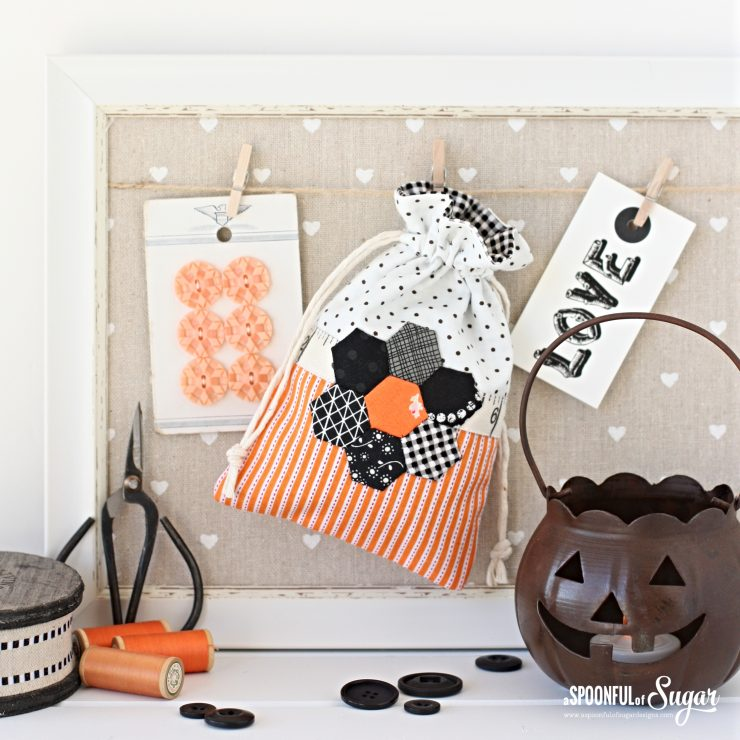 Halloween Drawstring Bag made from free tutorial by A Spoonful of Sugar