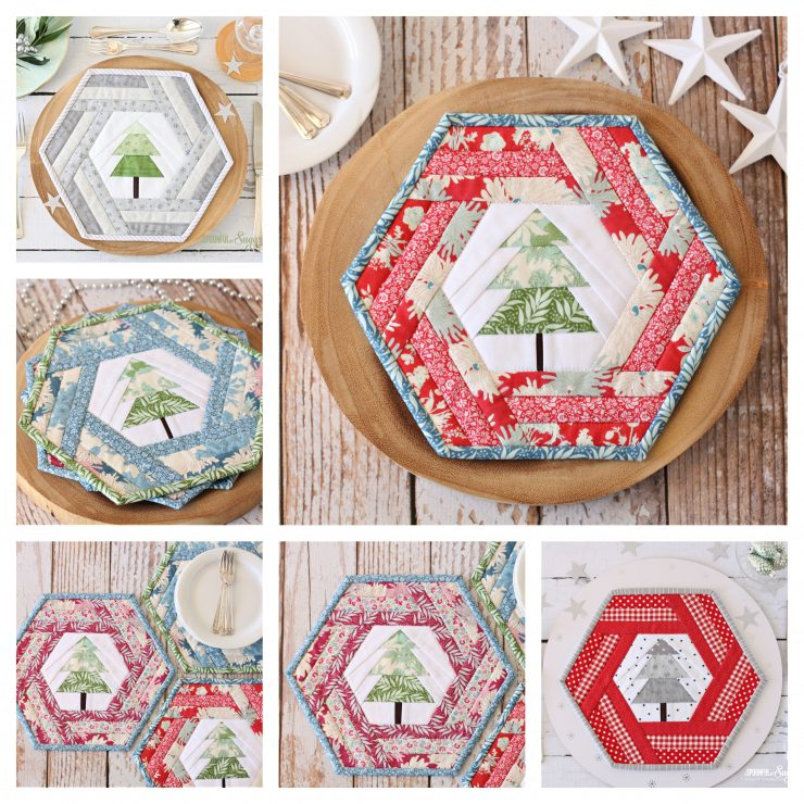 Hexie Holiday Placemat PDF Pattern by A Spoonful of Sugar (Etsy)