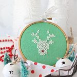 Rudolph Cross Stitched Hoop