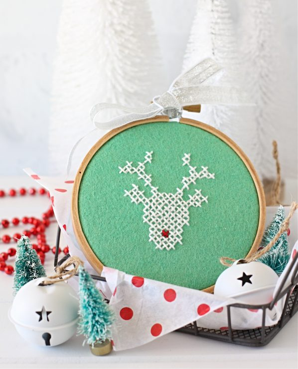 Rudolph Cross Stitched Hoop - Pattern from A Spoonful of SUgar