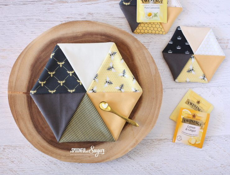 Easy Hexagon Trivet and Coasters pdf sewing pattern by A Spoonful of Sugar Designs.