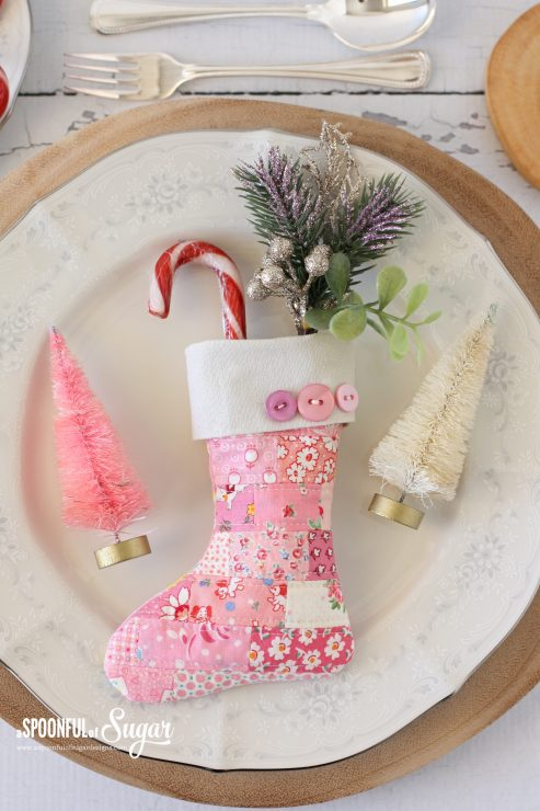 Scrappy Mini Stocking pdf sewing pattern by A Spoonful of Sugar Designs (available in Etsy store)