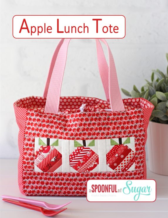 Apple Lunch Tote pdf Sewing Pattern by A Spoonful of Sugar on Etsy.