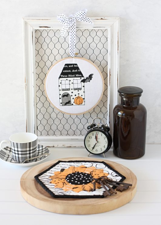 Halloween Dresden Placemat and Halloween Cottage made using ePatterna from A Spoonful of Sugar Designs.