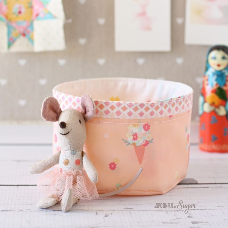 Mini Fabric Basket  pdf Sewing Pattern by A Spoonful of Sugar. Available in Etsy store.