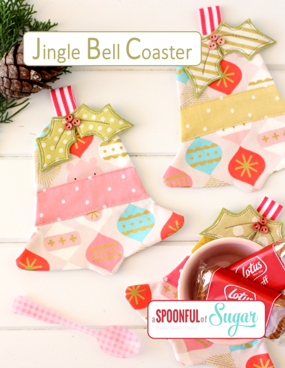 Jingle Bell Coaster PDF Sewing Pattern by A Spoonful of Sugar Designs. www.aspoonfulofsugardesigns.com