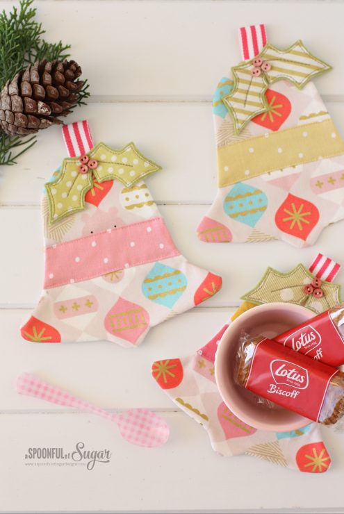 Jingle Bell Coaster PDF Sewing Pattern by A Spoonful of Sugar (available in Etsy store)