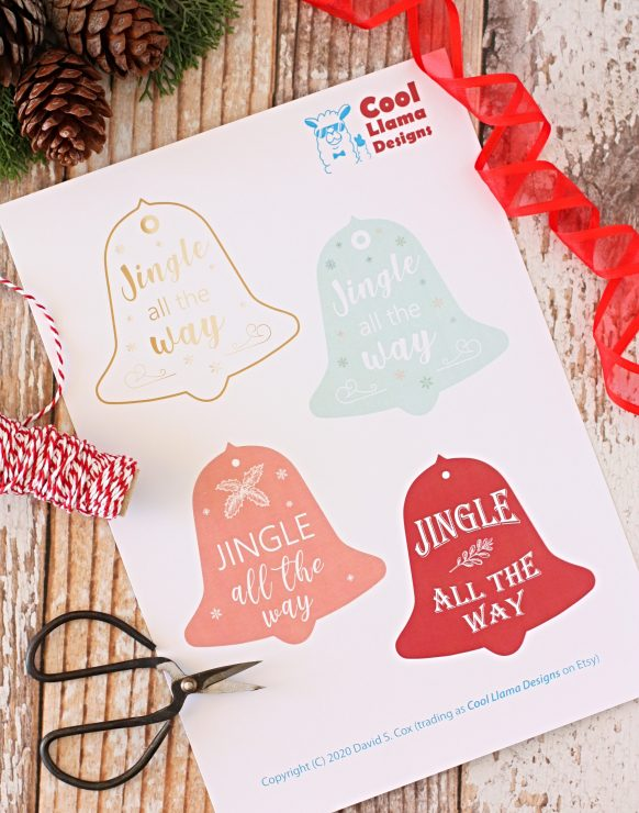 Jingle All the Way Gift Tags by Cool Llama Design (available from Cool Llama Designs Etsy store).
