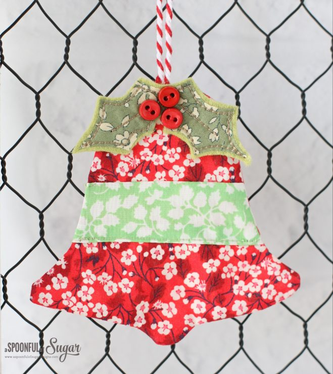 Liberty Bell Ornament made using the Jingle Bell Coaster pattern by A Spoonful of Sugar Designs. www.aspoonfulofsugardesigns.com