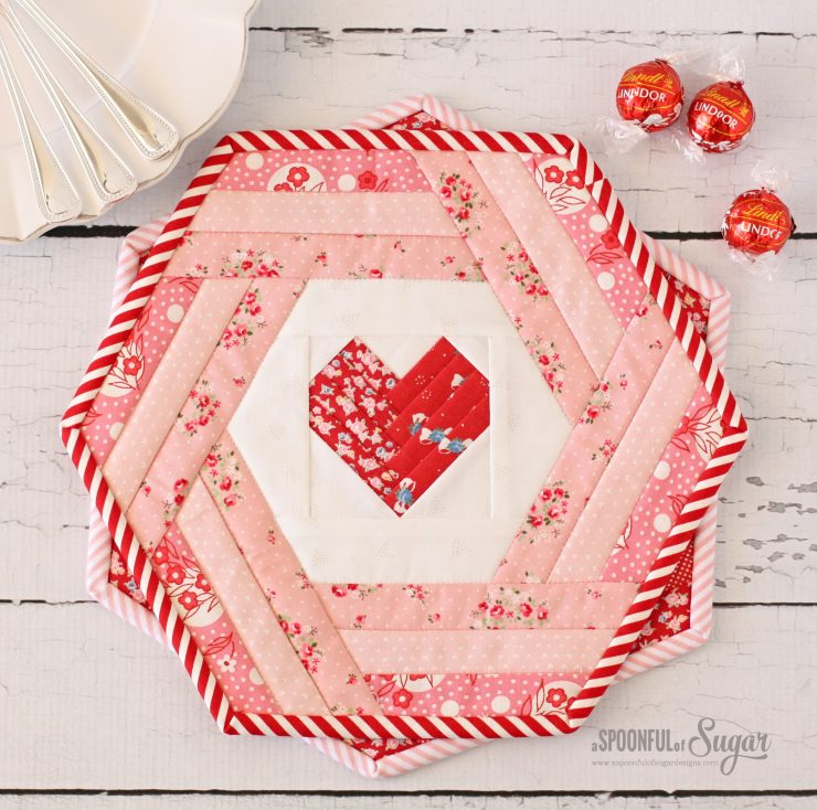 Hexie Heart Placemat PDF Sewing Pattern by A Spoonful of Sugar (Etsy)