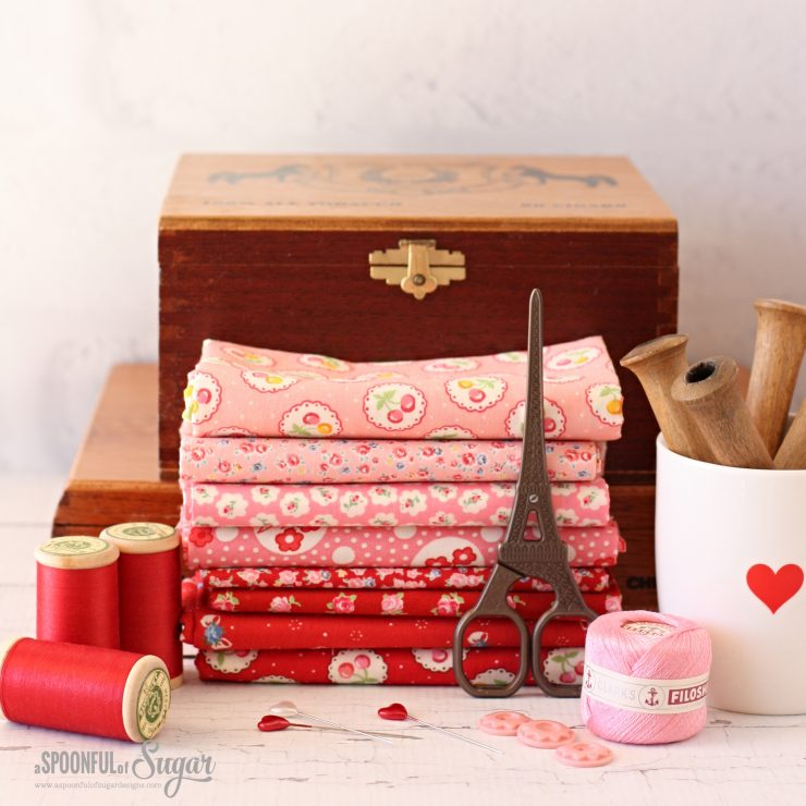 Pink and Red fabric selection