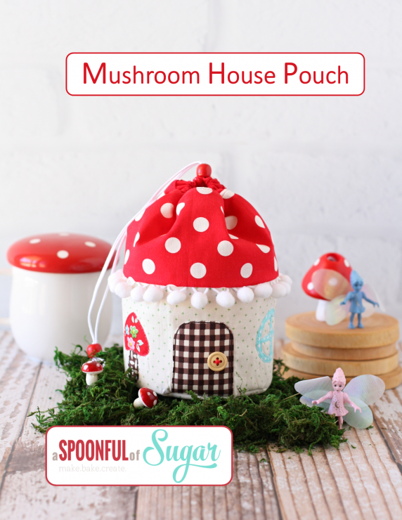 Mushroom House Pouch PDF Sewing Pattern is available in Aspoonfullofsugar Etsy store