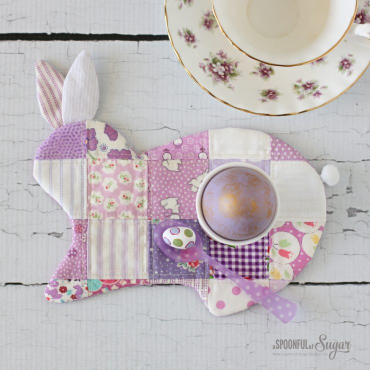 Bunny Coaster PDF Sewing Pattern by A Spoonful of Sugar Designs. Available in Aspoonfullofsugar Etsy store