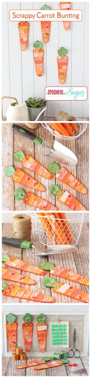 Scrappy Carrot Bunting pdf sewing pattern by A Spoonful of Sugar. Available in Etsy store.