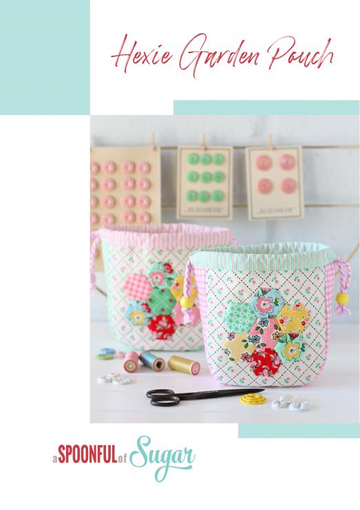 Hexie Garden Pouch PDF Sewing Pattern by shop.aspoonfulofsugardesigns.com