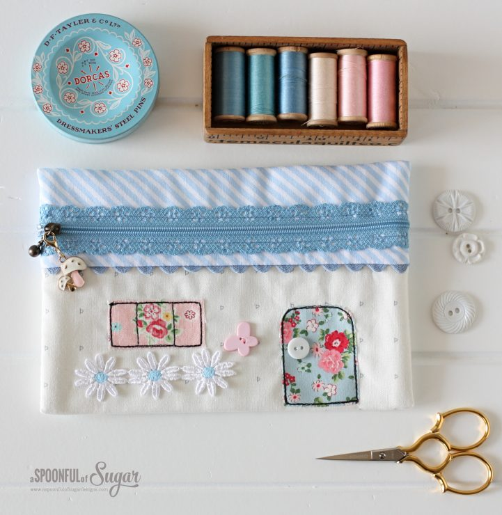 Zippered House Pouch PDF Sewing Pattern by aspoonfullofsugar on Etsy