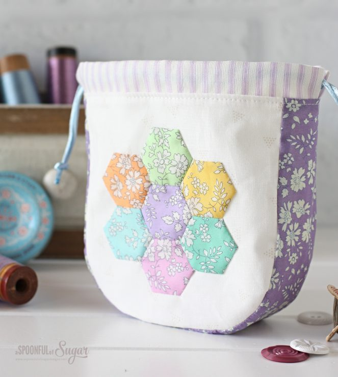 Liberty Hexie Garden Pouch PDF Sewing Pattern by shop.aspoonfulofsugardesigns.com
