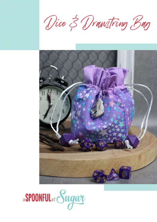 Dice and Drawstring Bag (DnD Dice Bag) by A Spoonful of Sugar Designs. PDF Sewing Pattern available in our Pattern Store and Etsy Shop.