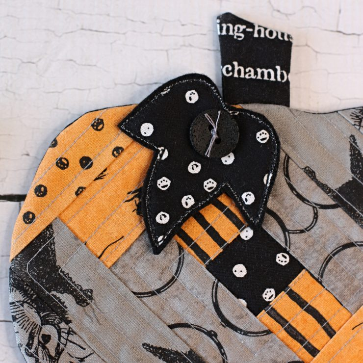 Halloween Patchwork Pumpkin Coaster Mug Rug PDF Sewing Pattern by A Spoonful of Sugar Designs.