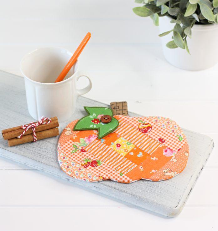 Patchwork Pumpkin Coaster Mug Rug PDF Sewing Pattern by A Spoonful of Sugar Designs.