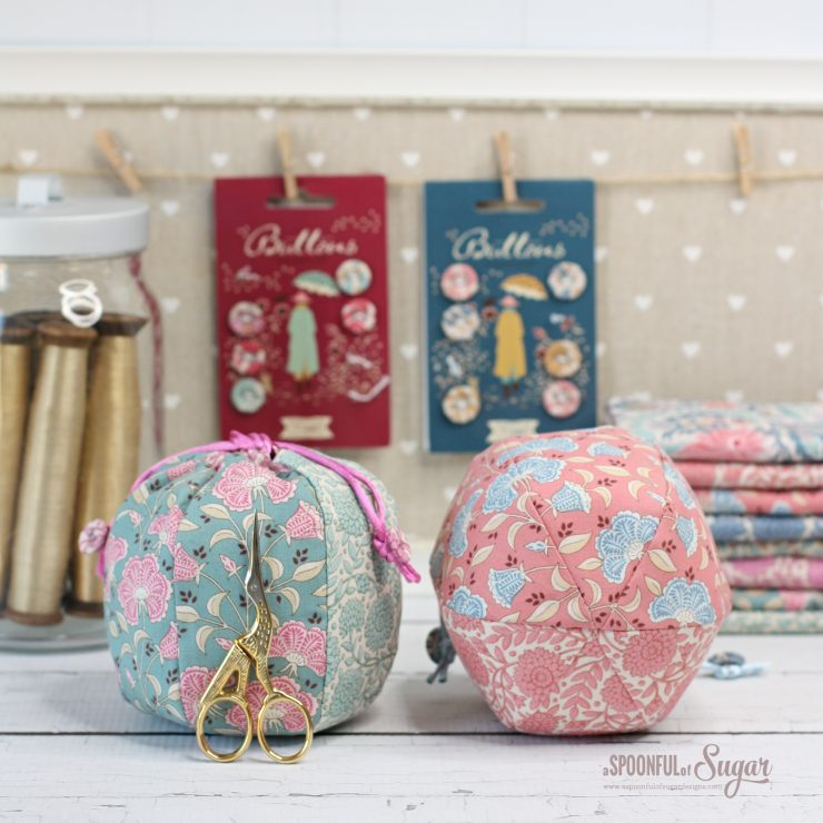 Puff Pouch PDF Sewing Pattern by A Spoonful of Sugar Designs made in fabric from Tilda Windy Days fabric collection.